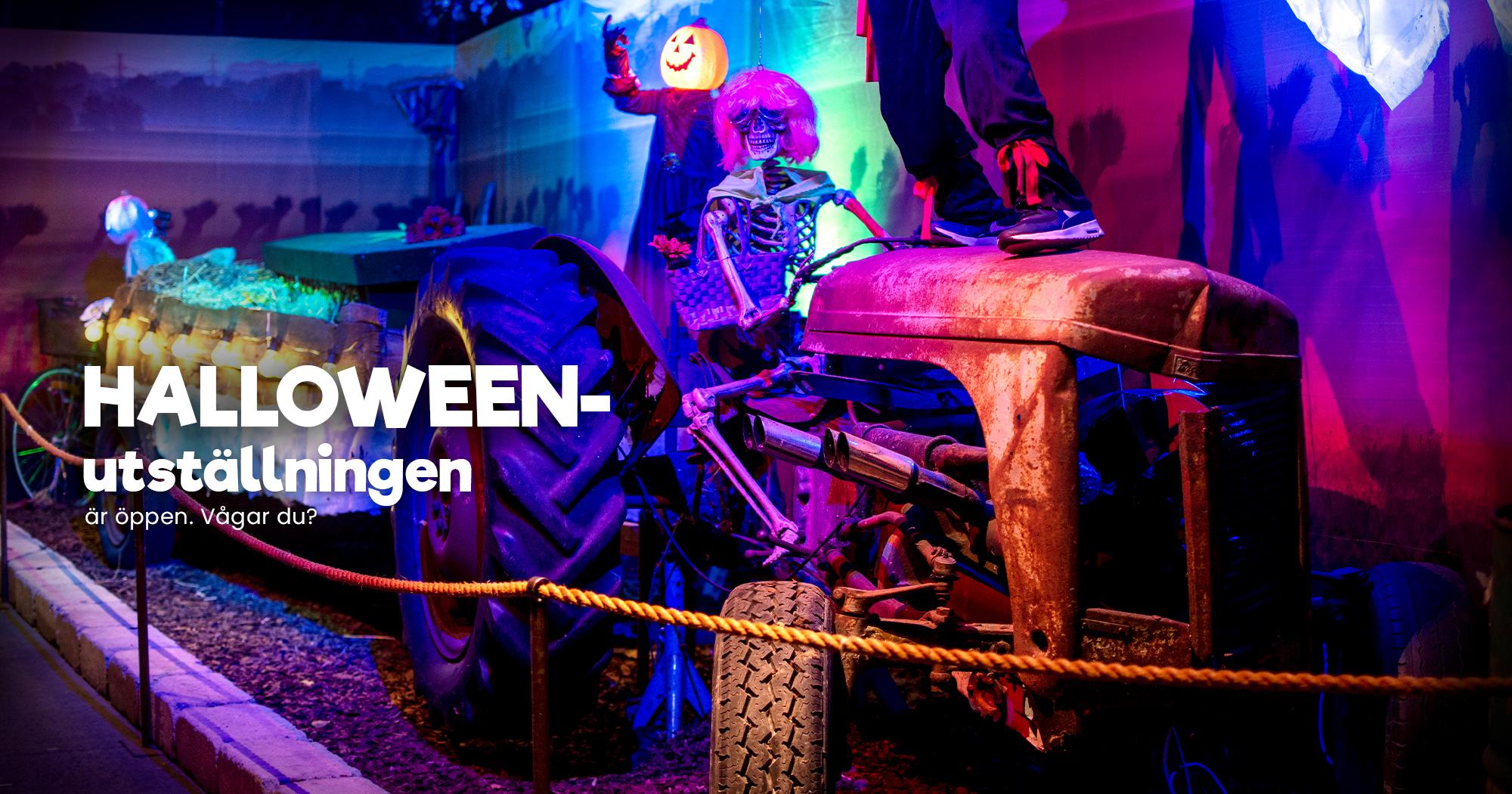 Skelett kör traktor, Halloween på Vellingeblomman